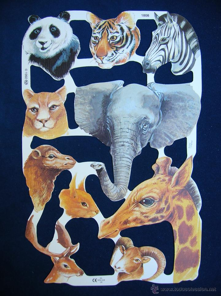 LAMINA CROMOS TROQUELADOS MLP- 1808. ANIMALES. RELIEVE BRILLO (Coleccionismo - Cromos y Álbumes - Cromos Troquelados)