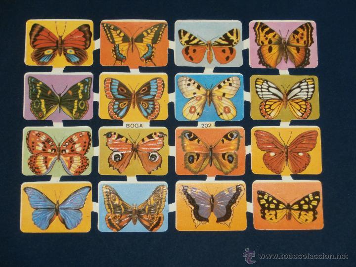 LAMINA CROMOS TROQUELADOS BOGA-202. MARIPOSAS. RELIEVE BRILLO (Coleccionismo - Cromos y Álbumes - Cromos Troquelados)