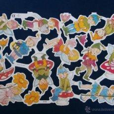 Coleccionismo Cromos troquelados antiguos: LAMINA CROMOS TROQUELADOS MLP- 2058. DUENDECILLOS. RELIEVE BRILLO. Lote 218638540