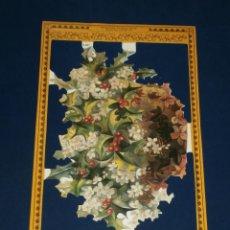Coleccionismo Cromos troquelados antiguos: LAMINA CROMOS TROQUELADOS MLP- A107. RAMA DE ACEBO. RELIEVE.. Lote 50922537