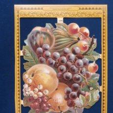 Coleccionismo Cromos troquelados antiguos: LAMINA CROMOS TROQUELADOS MLP- A104.CONJUNTO DE FRUTAS .RELIEVE.. Lote 147244837