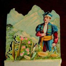 Coleccionismo Cromos troquelados antiguos: PRECIOSO CROMO TROQUELADO, ESCENA DIORAMICA, PROMENADE CHAMPETRE , MIDE 11 X 6 CMS.. Lote 53444638