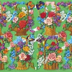 Coleccionismo Cromos troquelados antiguos: CROMOS TROQUELADOS PICAR PALMA MANUALIDADES DECOUPAGE 934 CESTA FLORES BOUQUET. Lote 57247986
