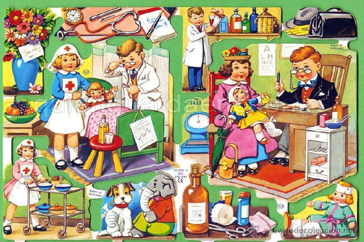 CROMOS TROQUELADOS PICAR PALMA MANUALIDADES DECOUPAGE 1433 JUGANDO MÉDICOS NIÑO NIÑOS ENFERMERA (Coleccionismo - Cromos y Álbumes - Cromos Troquelados)