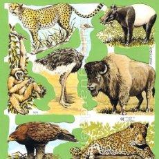 Coleccionismo Cromos troquelados antiguos: CROMOS TROQUELADOS PICAR PALMA MANUALIDADES DECOUPAGE 1574 ANIMALES SALVAJES OSO BÚFALO AVESTRUZ TIG. Lote 54492728