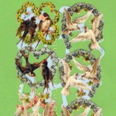 Coleccionismo Cromos troquelados antiguos: CROMOS TROQUELADOS PICAR PALMA MANUALIDADES DECOUPAGE 1757 CORONA FLORES PÁJAROS. Lote 103948154