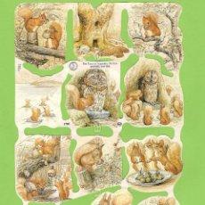 Coleccionismo Cromos troquelados antiguos: CROMOS PICAR MANUALIDADES DECOUPAGE 1785 CUENTO ARDILLA BEATRIX POTTER THE TALE OF SQUIRREL NUTKIN. Lote 54498919