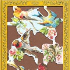 Coleccionismo Cromos troquelados antiguos: CROMOS DECOUPAGE MANUALIDADES SERIE LUJO PÁJAROS PÁJARO FLOR FLORES 2 LÁMINAS. Lote 54534537