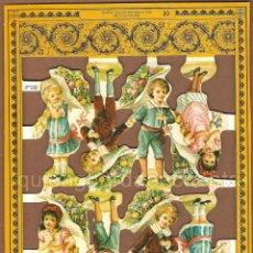 Coleccionismo Cromos troquelados antiguos: CROMOS DECOUPAGE MANUALIDADES SERIE LUJO NIÑO NIÑA NIÑOS ÉPOCA ANTIGUA DIBUJO. Lote 54534643