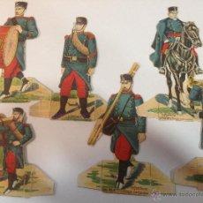 Coleccionismo Cromos troquelados antiguos: MUSICO, SANITARIO, GENERAL... LOTE DE 6 CROMOS TROQUELADOS MILITARES DE CHOCOLATES JUNCOSA. 12CM APR. Lote 54867508