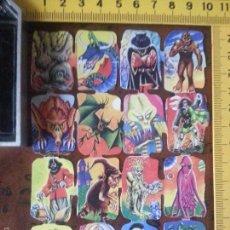 Coleccionismo Cromos troquelados antiguos: LAMINA CROMOS DE PICAR TROQUELADOS - MONSTRUOS PERSONAJES DE FICCION 2/4. Lote 83786130