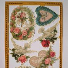 Coleccionismo Cromos troquelados antiguos: GIN. LÁMINA DE CROMOS TROQUELADOS SERIE ORO MLP A169 - PALOMAS Y FLORES. Lote 195938935