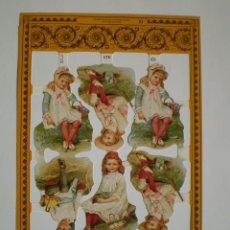 Coleccionismo Cromos troquelados antiguos: GIN. LÁMINA DE CROMOS TROQUELADOS SCRAPBOOK SERIE ORO MLP A23 - NIÑOS ÉPOCA VICTORIANA. Lote 235677360