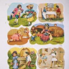 Coleccionismo Cromos troquelados antiguos: GIN. LÁMINA DE CROMOS TROQUELADOS MLP 1639 - CUENTOS. Lote 235679575