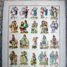 Coleccionismo Cromos troquelados antiguos: CROMOS TROQUELADOS, SIGLO XIX, LAMINA TIPO CARTEL, NIÑOS , ORIGINAL , 1. Lote 66845162