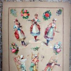 Coleccionismo Cromos troquelados antiguos: CROMOS TROQUELADOS, SIGLO XIX, LAMINA TIPO CARTEL, NIÑOS , ORIGINAL . Lote 66846334