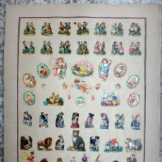 Coleccionismo Cromos troquelados antiguos: CROMOS TROQUELADOS, SIGLO XIX, LAMINA TIPO CARTEL, VARIADO NIÑOS Y ANIMALES , ORIGINAL. Lote 66848382
