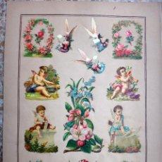 Coleccionismo Cromos troquelados antiguos: CROMOS TROQUELADOS, SIGLO XIX, LAMINA TIPO CARTEL, ANGELITOS Y FLORES , ORIGINAL. Lote 66849794