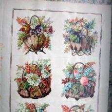 Coleccionismo Cromos troquelados antiguos: CROMOS TROQUELADOS, SIGLO XIX, LAMINA TIPO CARTEL, CESTAS CON FLORES , ORIGINAL. Lote 66850334