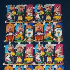 Coleccionismo Cromos troquelados antiguos: LAMINA CROMOS TROQUELADOS MLP- 1219. CERDITOS. RELIEVE BRILLO. Lote 294488048