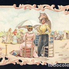 Coleccionismo Cromos troquelados antiguos: CROMO TROQUELADO Y CON RELIEVE: ESCENA EN LA PLAYA. Lote 68285597