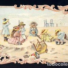 Coleccionismo Cromos troquelados antiguos: CROMO TROQUELADO Y CON RELIEVE: NIÑOS EN LA PLAYA. Lote 68285697