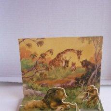 Coleccionismo Cromos troquelados antiguos: DIORAMA PLEGABLE 'EL LEÓN REY'. COLECCIÓN FABULAS DE ESOPO Nº 15, DE EDICIONES BARSAL. Lote 73714703