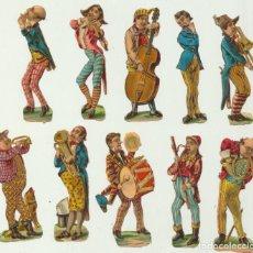 Coleccionismo Cromos troquelados antiguos: CROMOS TROQUELADOS. LOTE DE 2 (12,5X4) . FRANCESES. MUSICOS. SIGLO XIX.. Lote 78165941