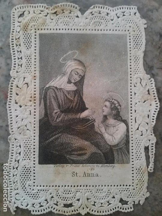 ANTIGUO CROMO RELIGIOSO TROQUELADO CON PUNTILLA 8,5 X 6 CM (Coleccionismo - Cromos y Álbumes - Cromos Troquelados)