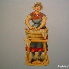 Coleccionismo Cromos troquelados antiguos: PRECIOSO CROMO TROQUELADO - LAVANDERA - BLANCHISSEUSE - 12,3 CM DE ALTURA . Lote 79653573