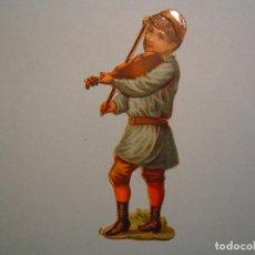 Coleccionismo Cromos troquelados antiguos: CROMO TROQUELADO - NIÑO CON VIOLIN - COMPAÑIA COLONIAL MADRID - 9,7 CM DE ALTURA. Lote 79656049