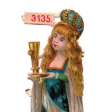 Coleccionismo Cromos troquelados antiguos: CROMO TROQUELADO SIGLO XIX - PRINCESA CON COPA. Lote 80947228