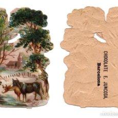 Coleccionismo Cromos troquelados antiguos: CROMO TROQUELADO SIGLO XIX - CHOCOLATES E. JUNCOSA, BARCELONA. Lote 81042628