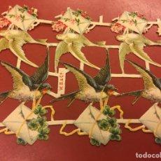 Coleccionismo Cromos troquelados antiguos: ANTIGUOS CROMOS TROQUELADOS, PPIOS. 1900 - 6 CROMOS - PÁJAROS, CARTAS Y FLORES - MIDE APROX 16X11CMS. Lote 106624607