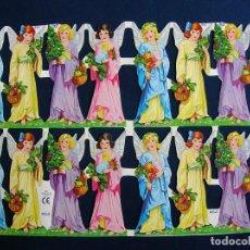 Coleccionismo Cromos troquelados antiguos: LAMINA CROMOS TROQUELADOS MLP- 865. ANGELES CON FLOLAMINA CROMOS TROQUELADOS MLP- 766.NIRES. BRILLO.. Lote 145656860