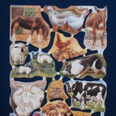 Coleccionismo Cromos troquelados antiguos: LAMINA CROMOS TROQUELADOS MLP- 1854. ANIMALES DE GRANJA. RELIEVE.. Lote 177612203