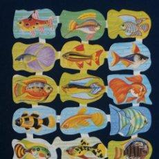 Coleccionismo Cromos troquelados antiguos: LAMINA CROMOS TROQUELADOS ESPAÑOLES EDIVAS 4. PECES. Lote 294488148