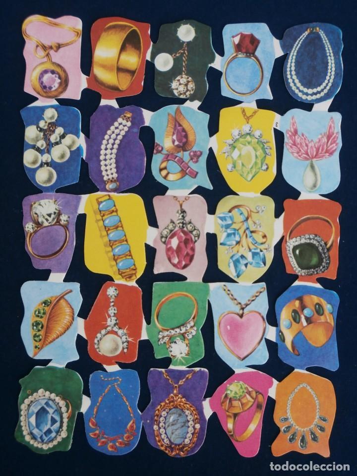 LAMINA CROMOS TROQUELADOS ESPAÑOLES EDIVAS 7. ARTICULOS JOYERIA. (Coleccionismo - Cromos y Álbumes - Cromos Troquelados)