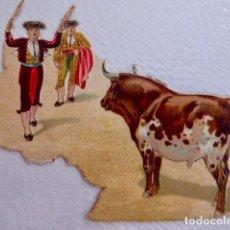 Coleccionismo Cromos troquelados antiguos: TOROS/TAUROMAQUIA. CROMO ANTIGUO DE CHOCOLATE AMERICANO TROQUELADO/DE PICAR. CON RELIEVE. Lote 90372008