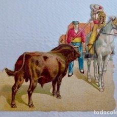 Coleccionismo Cromos troquelados antiguos: TOROS/TAUROMAQUIA. CROMO ANTIGUO DE CHOCOLATE AMERICANO TROQUELADO/DE PICAR. CON RELIEVE. Lote 90372112