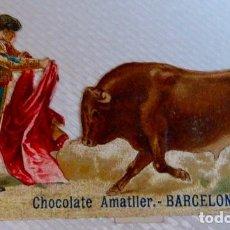 Coleccionismo Cromos troquelados antiguos: TOROS/TAUROMAQUIA. CROMO ANTIGUO DE CHOCOLATE AMATLLER TROQUELADO/DE PICAR. CON RELIEVE. Lote 90374488