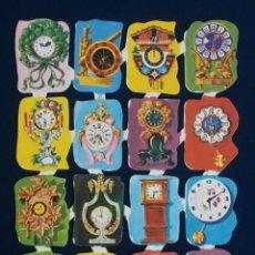 Coleccionismo Cromos troquelados antiguos: LAMINA CROMOS TROQUELADOS ESPAÑOLES EDIVAS 15. RELOJES. Lote 245482295