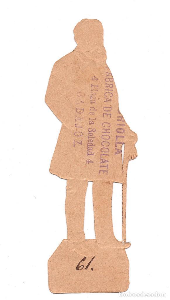 Coleccionismo Cromos troquelados antiguos: CROMO TROQUELADO SIGLO XIX - PROPAGANDA CHOCOLATES LA CRIOLLA BADAJOZ - Foto 3 - 96485527