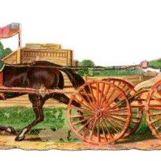 Coleccionismo Cromos troquelados antiguos: CROMO TROQUELADO SIGLO XIX - CARROZA DE CABALLOS. Lote 96489867