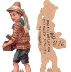 Coleccionismo Cromos troquelados antiguos: CROMO TROQUELADO SIGLO XIX - PROPAGANDA REGALOS EVARISTO JUCOSA - BARCELONA. Lote 96939315