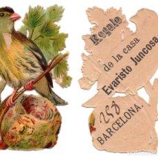 Coleccionismo Cromos troquelados antiguos: CROMO TROQUELADO SIGLO XIX - PROPAGANDA REGALOS EVARISTO JUCOSA - BARCELONA. Lote 100069395