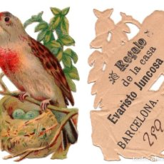 Coleccionismo Cromos troquelados antiguos: CROMO TROQUELADO SIGLO XIX - PROPAGANDA REGALOS EVARISTO JUCOSA - BARCELONA. Lote 100069907