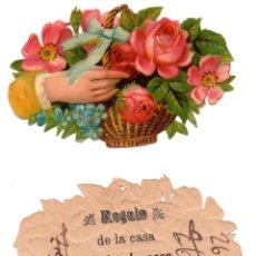 Coleccionismo Cromos troquelados antiguos: CROMO TROQUELADO SIGLO XIX - PROPAGANDA REGALOS EVARISTO JUCOSA - BARCELONA. Lote 100070567