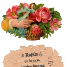 Coleccionismo Cromos troquelados antiguos: CROMO TROQUELADO SIGLO XIX - PROPAGANDA REGALOS EVARISTO JUCOSA - BARCELONA. Lote 100071379
