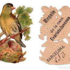 Coleccionismo Cromos troquelados antiguos: CROMO TROQUELADO SIGLO XIX - PROPAGANDA CHOCOLATE EVARISTO JUNCOSA - BARCELONA. Lote 104022259